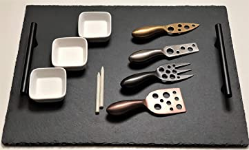 """Natural Slate Cheese Board and Knife Set 