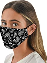 Snoozies Face Masks - 1 Cloth Face Mask - Washable Fabric Face Mask Reusable with Filter Pocket - Adjustable Ear Loops - Resealable Pouch - 4 Disposable Filters Included - Black Bandana