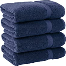 White Classic Luxury Bath Towels Large - Cotton Hotel spa Bathroom Towel | 27x54 | 4 Pack | Navy Blue