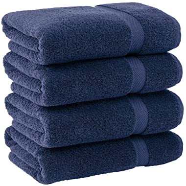 White Classic Luxury Bath Towels - 600 GSM Cotton Hotel Towel - 27x54-4 Pack - Navy Blue
