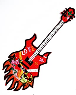 Flame Guitar Embroidered Applique Patch Electric Guitar Iron On Patch Music Applique Badge Guitar Musician Gift Patch Music Humor Patch