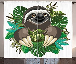 Ambesonne Sloth Curtains, Cartoon Mammal on Tropical Jungle with Green Banana Leaves Character, Living Room Bedroom Window Drapes 2 Panel Set, 108