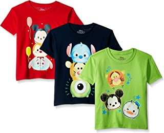 Disney Boys' Toddler Tsum 3-Pack Short Sleeve T-Shirt