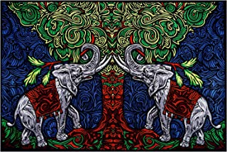 Sunshine Joy 3D Elephant Tree Tapestry Tablecloth Wall Art Beach Sheet Huge 60x90 Inches - Amazing 3D Effects