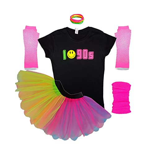 Ladies I Love 90s Neon Rainbow Tutu Skirt Smiley Set Fancy Dress 207c27385528