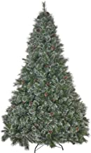 9-Foot Cashmere Pine and Mixed Needles Unlit Hinged Artificial Christmas Tree with Snowy Branches and Pinecones