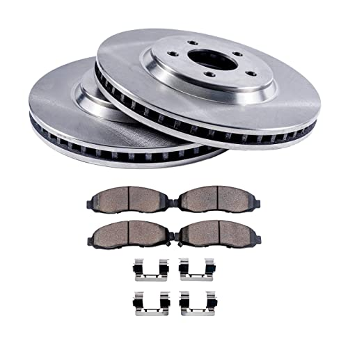 Detroit Axle - Complete Front Brake Rotor Set & Brake Pads w/Clips Hardware Kit