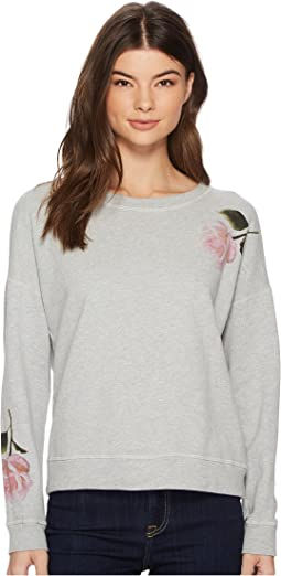 Michael Stars French Terry Reversible Pullover with Flowers