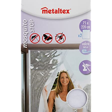 Metaltex 297710 MOSQUITERA PUERTA 2 P. 75X220 CMS. BCA, Blanco