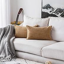 """HOME BRILLIANT Striped Velvet Throw Pillow Covers 2 Pack, Velvet, E-Taupe, 12"""" x 20"""""""