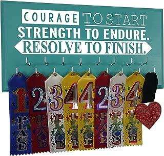 Marathon Medal Holder - Courage - Strength - Resolve - Running Medal Holder - Medal Wall Hanger for Men - Hooks for All Sports - Sports Medal Display Rack