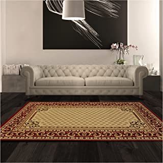 Superior Longfield Collection 5' x 8' Area Rug, Attractive Rug with Jute Backing, Durable and Beautiful Woven Structure, Oriental Rug Design with Detailed Border - Ivory
