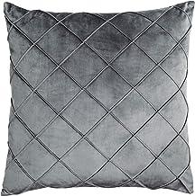 Almofada em Veludo com nervuras - Cinza - 50x50cm - Mart