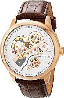 Akribos XXIV Men's AK538 Mechanical Automatic Skeleton Dial with Leather Strap Watch