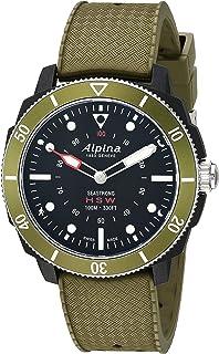 """Alpina 男士""""Horological Smart""""石英不锈钢和橡胶运动手表,颜色:绿色(型号:AL-282LBGR4V6)"""