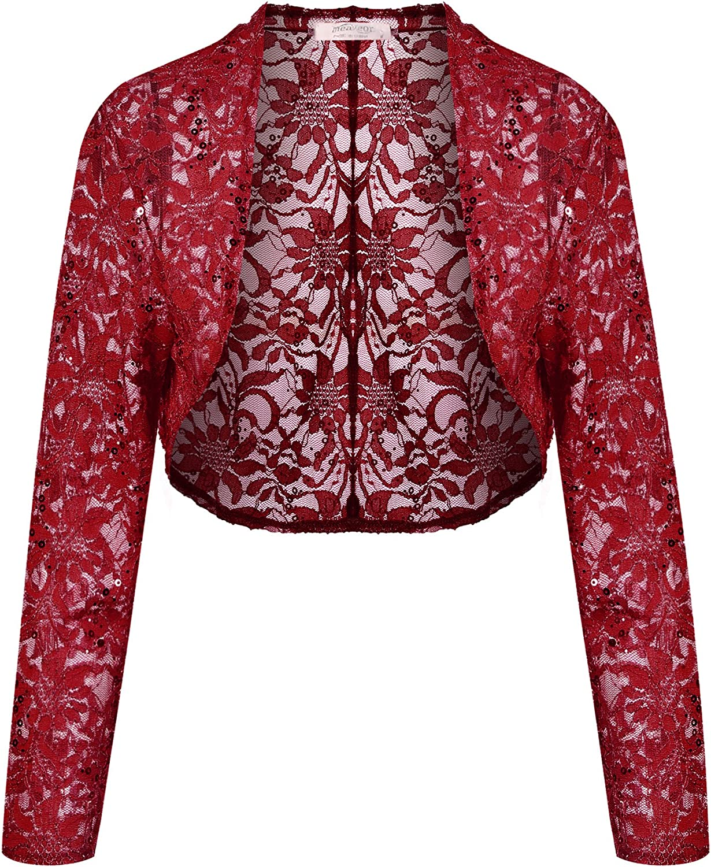 Meaneor Lace Sweater, Womens Long Sleeves Lace Crochet Bolero Crop Cardigan Shrug Top