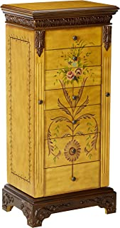 powell masterpiece handpainted wood jewelry armoire antiqued parchment