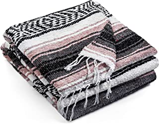 Topaz Hill Mexican Blanket - Large Size Woven Yoga Blanket for Outdoor - Throw for Picnic, Beach, Park, Travel, Bedding, Home Decor (Salmon Pink)