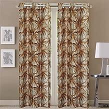 Queenzliving Elements Curtain, Long Door 9 feet- Pack of 2, Brown