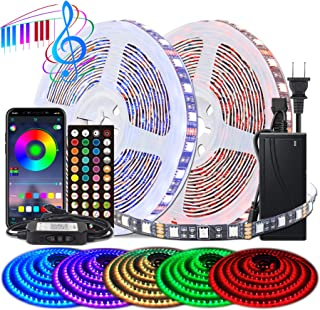 BIHRTC Led Strip Lights 5050 Rgb 600leds 32.8ft Led Lights Music Sync App Control Color Changing Rope Lights with Built-in...