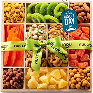 Fathers Day Dried Fruit & Nut Gift Basket in Wooden Tray + Green Ribbon (12 Piece Assortment) - Arrangement Platter, Birth...