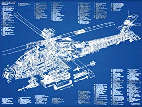 AH-64D Apache Attack Helicopter Military Patent Plan Large XL Wall Art Canvas Print