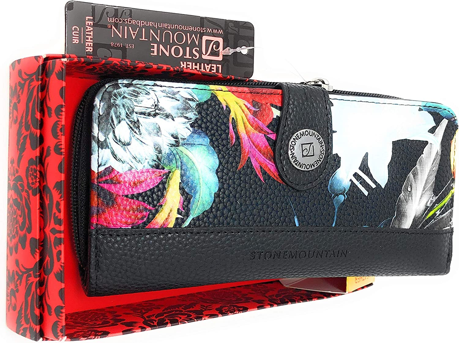 Stone Mountain Leather Floral Wallet in Gift Box   7X4 IN