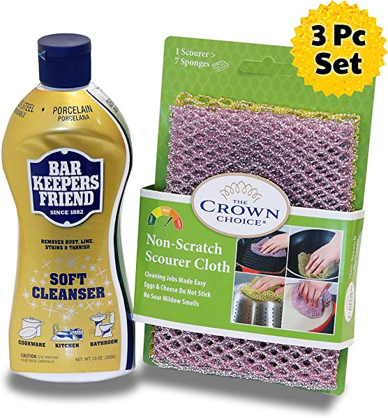 BAR KEEPERS FRIEND Soft Cleanser Liquid 13 OZ And Non Scratch Scouring Scrubber Kit Multipurpose Stainless Steel Rust Soft Cleaner With Heavy Duty Non Scratch DishCloth