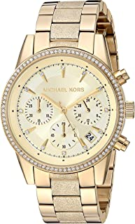 Women's Ritz Analog-Quartz Watch with Stainless-Steel-Plated Strap, Gold, 17.7 (Model: MK6597)