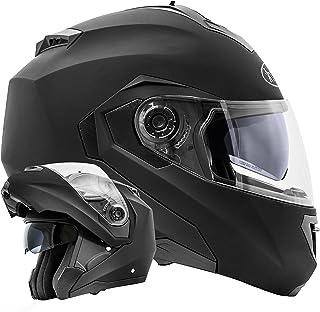 ATO Moto Montreal Schwarz matt Größe L 59 60cm Klapphelm mit Doppelvisier System und der neusten Sicherheitsnorm ECE 2205