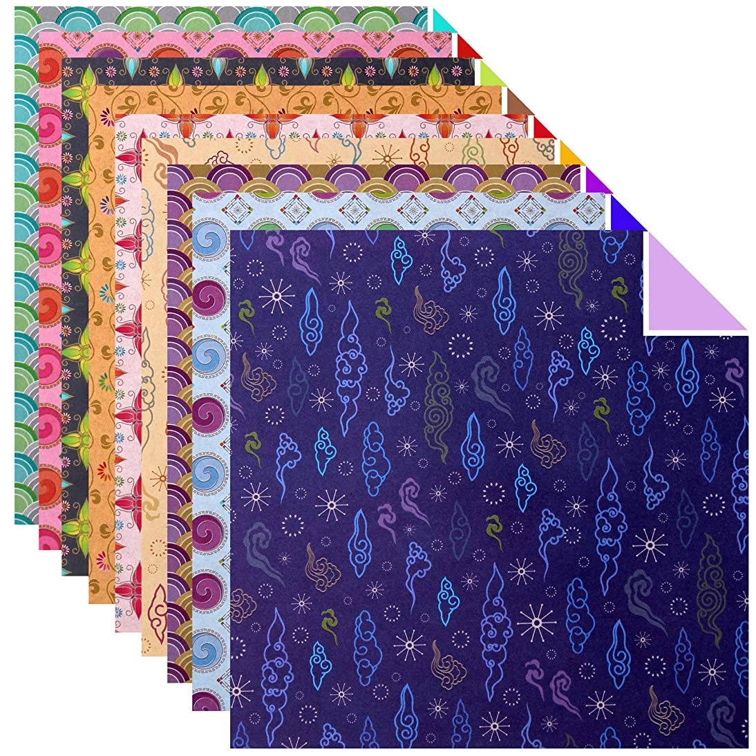 100 Sheets Double Sided Origami Paper Various Patterns (Traditional Korean Pattern 3)