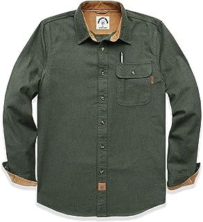 Dubinik - Camisa de franela de manga larga a cuadros de algodón con botones para hombre, corte recto