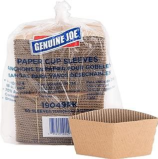 Genuine Joe GJO19049PK Protective Corrugated Cup Sleeve, Brown (Pack of 50)