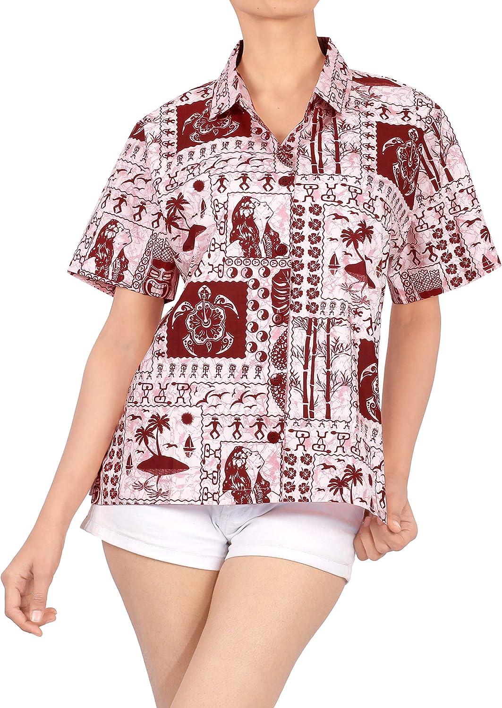 LA LEELA Women's Relaxed Summer Casual Hawaiian Blouse Shirt Button Down Printed