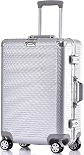 Carry On Luggage, Aluminum Frame Hardshell Durable PC Spinner Suitcase TSA Approved 20 Inch Silver