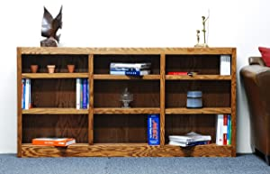 Concepts In Wood 9 Shelf Triple Wide Wood Bookcase, 36 inch Tall (Oak)