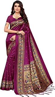 PISARA Women's Banarasi Art Silk Saree With Blouse Piece