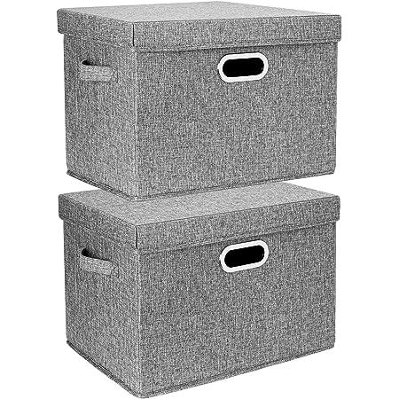 TYEERS 2 Pack Boîtes de Rangement Pliables avec Couvercle et Poignées, Caisse de Rangement pour Vêtements en Tissu Lavable - Gris