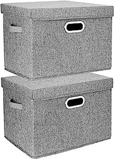 TYEERS 2 Pack Boîtes de Rangement Pliables avec Couvercle et Poignées, Caisse de Rangement pour Vêtements en Tissu Lavable...