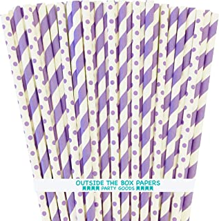 Lavender Lilac White Paper Straws - Stripe Polka Dot - 7.75 inches - 100 Pack - Outside The Box Papers Brand