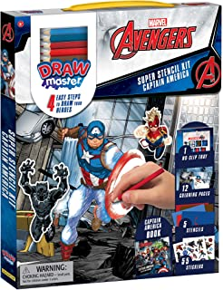 Drawmaster Marvel Avengers: Captain America Super Stencil Kit: 4 Easy Steps to Draw your Heroes