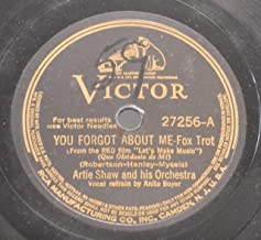 Artie Shaw & His Orchestra Very Nice Original 10 Inch 78 rpm - You Forgot About Me / Whispers In The Night - Victor Records 27256 - 1940
