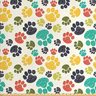 Ambesonne Dog Lover Fabric by The Yard, Hand Drawn Paw Print Doodles Circular Pattern Children Drawing Style Animal, Decor...