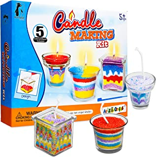 DIY Candle Making Kit, Candle Making Supplies Craft Kit, Arts and Crafts Set Includes 5 Bags of Colored Wax, 3 Glass Containers, 3 Wicks, 3 Wick Holders, and a Designing Tool