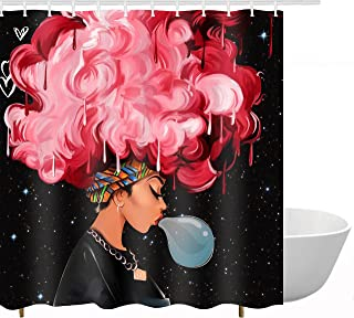 Get Orange Traditional African Black Women Blow Bubbles with Red Hair Afro Hairstyle Watercolor Print Waterproof Fabric Polyester Shower Curtain Decor Set with Hooks 72X72 Inches