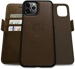 Dreem Fibonacci 2-in-1 Wallet-Case for Apple iPhone 12 Pro Max - Luxury Vegan Leather, Magnetic Detachable Shockproof Phone Case, RFID Card Protection, 2-Way Flip Stand - Chocolate
