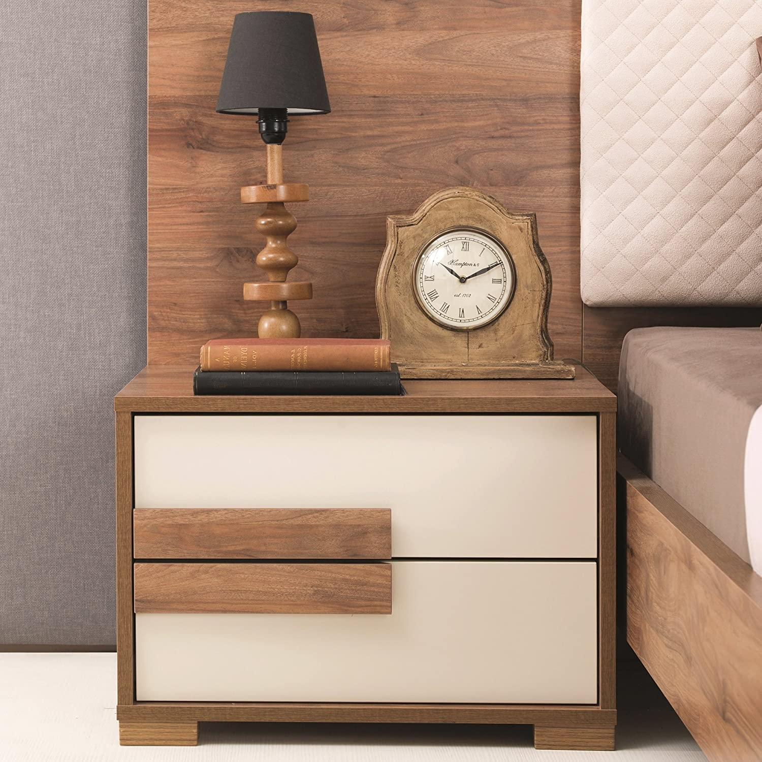 Adam and Illy AUR0471 Aura Nightstand, Marble Walnut Ceramic