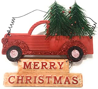 Winter Wonder Lane Red Retro Truck Christmas Ornament with Christmas Tree - About 6 inches Long - Set of 3 Ornaments