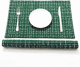 SLOW COW Linen المفارش مقاومة للحرارة طاولة الطعام حصيرة مكان المطبخ قابل للغسل الجدول ماتس مجموعة من 2، الأخضر مختلطة الأبيض