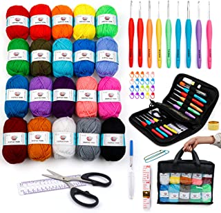 20 Acrylic Yarn Skeins with 73PCS Crochet Hook Kit, 2080 Yards Yarn for Knitting and Crochet, Crochet Accessories Set Incl...